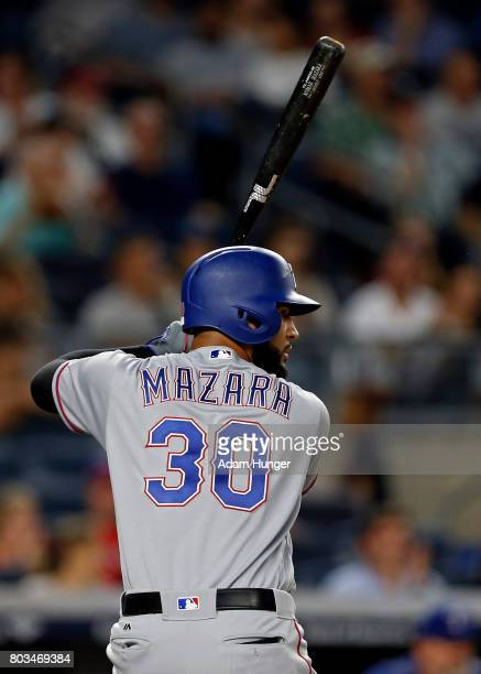 Nomar Mazara of the Texas Rangers at bat against the New York Yankees during the first inning at Yankee Stadium on June 23 2017 in the Bronx borough...