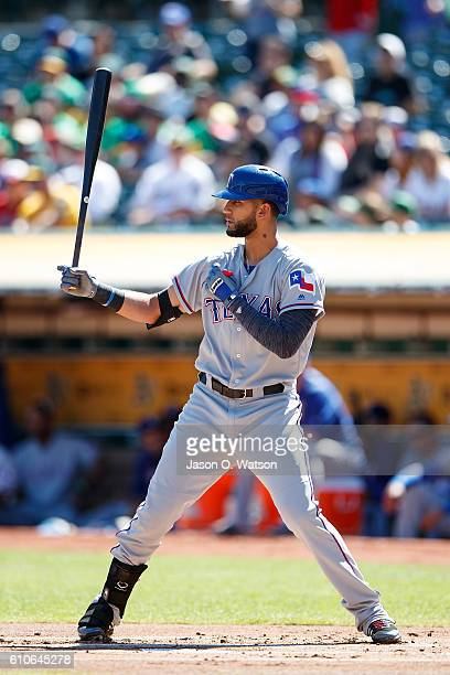 Nomar Mazara of the Texas Rangers at bat against the Oakland Athletics during the first inning at the Oakland Coliseum on September 24 2016 in...