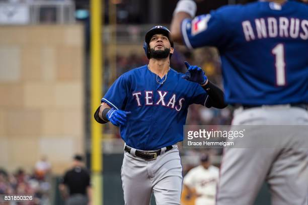 Nomar Mazara of the Texas Rangers celebrates a home run against the Minnesota Twins on August 5 2017 at Target Field in Minneapolis Minnesota The...