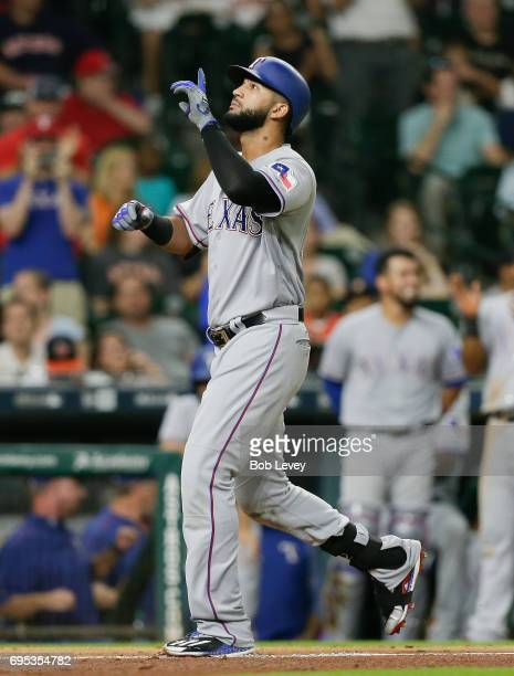 Nomar Mazara of the Texas Rangers hits a threerun home run in the eighth inning against the Houston Astros at Minute Maid Park on June 12 2017 in...