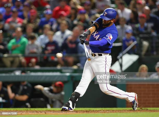 Nomar Mazara of the Texas Rangers hits in the seventh inning against the Cleveland Indians at Globe Life Park in Arlington on April 5 2017 in...