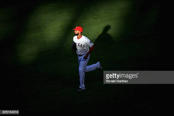 Nomar Mazara of the Texas Rangers runs to the dugout during play against the New York Yankees in the first inning at Globe Life Park in Arlington on...