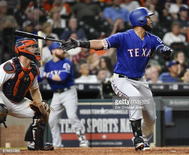 Nomar Mazara of the Texas Rangers watches his tworun home run during the ninth inning against the Houston Astros at Minute Maid Park on May 2 2017 in...