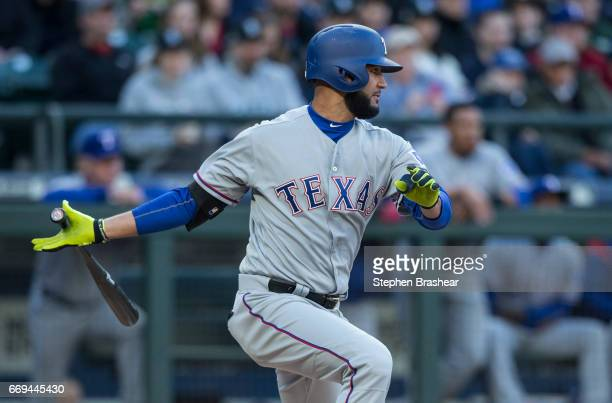 Nomar Mazara takes a swing during an atbat in a game Seattle Mariners at Safeco Field on April 15 2017 in Seattle Washington The Mariners won the...