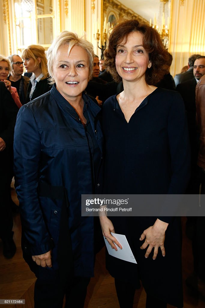 Nominated for 'Moliere de la Comedienne dans un spectacle de Theatre prive' for 'Momo' Muriel Robin and French Minister of Culture and Communication...