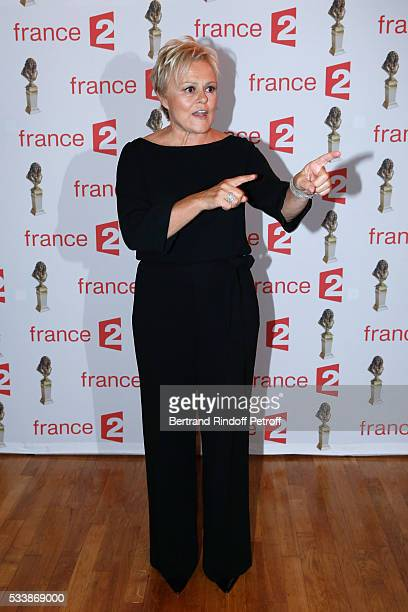 Nominated for 'Moliere de la Comedienne dans un spectacle de Theatre prive' for 'Momo' Muriel Robin attends 'La 28eme Nuit des Molieres' on May 23...