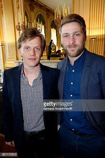 Nominated for 'Moliere de l'Humour' Alex Lutz and his stage director Tom Dingler attend the Moliere 2016 Nominee Luncheon Held at 'Ministere de la...