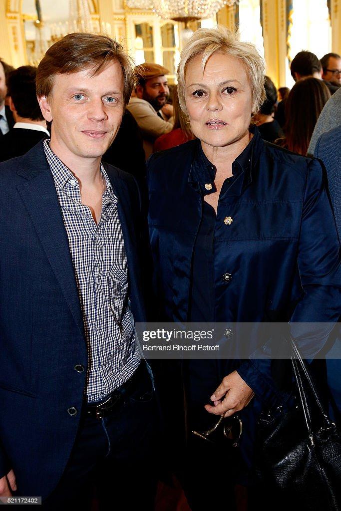 Nominated for 'Moliere de l'Humour' Alex Lutz and Nominated for 'Moliere de la Comedienne dans un spectacle de Theatre prive' for 'Momo' Muriel Robin...