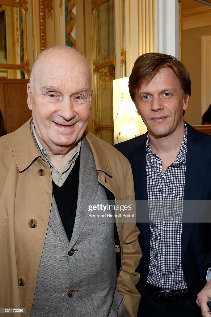 Nominated for 'Moliere du Comedien dans un spectacle de Theatre prive' for 'A tord et a raison', Michel Bouquet and Nominated for 'Moliere de l'Humour', Alex Lutz attend the Moliere 2016 - Nominee Luncheon. Held at 'Ministere de la Culture' on April 14, 2016 in Paris, France.