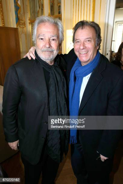 Nominated for 'Moliere du Meilleur Comedien dans un spectacle de Theatre Prive' for 'Le cas Sneijder' Pierre Arditi and Daniel Russo attend the 29th...