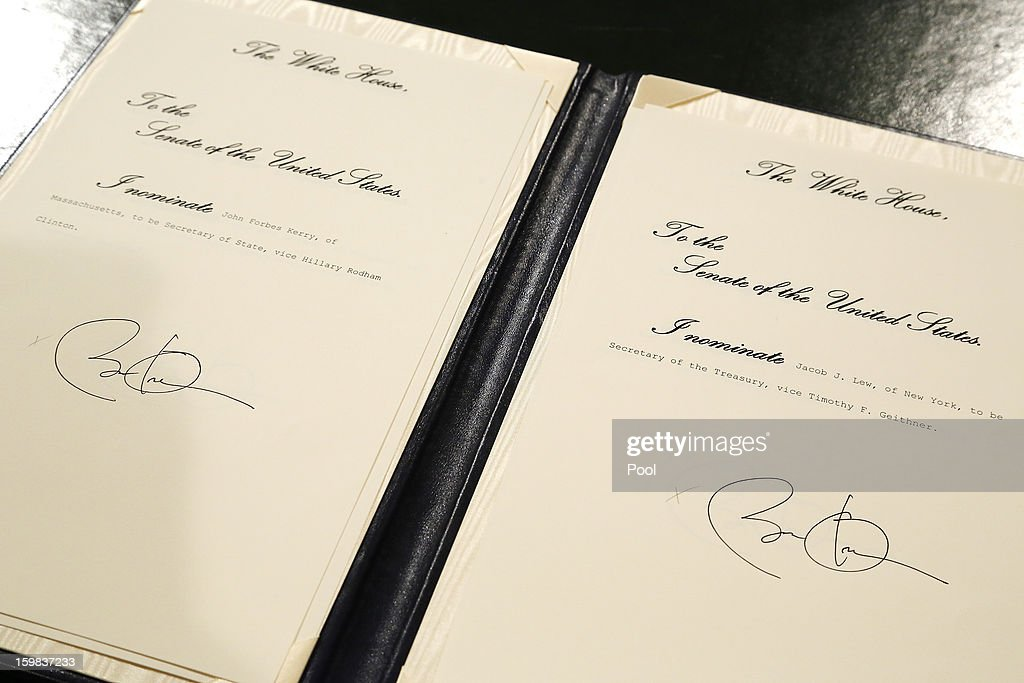 Nominations for U.S. Sen. John Kerry (D-MA) to be named Secretary of State (L) and for White House Chief of Staff Jacob Lew to be named Treasury Secretary bear U.S. President Barack Obama's signature directly after swearing-in ceremonies in the U.S Capitol on January 21, 2013 in Washington, DC. U.S. President Barack Obama was ceremonially sworn in for his second term today.