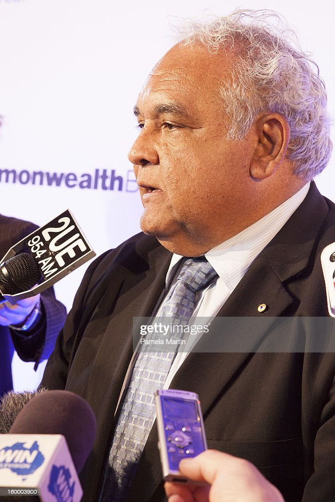 Nominee for Australian of the Year Dr Tom Calma, speaks to the press at the 2013 Australian of the Year finalist lunch at the National Gallery of Australia on January 25, 2013 in Canberra, Australia. .