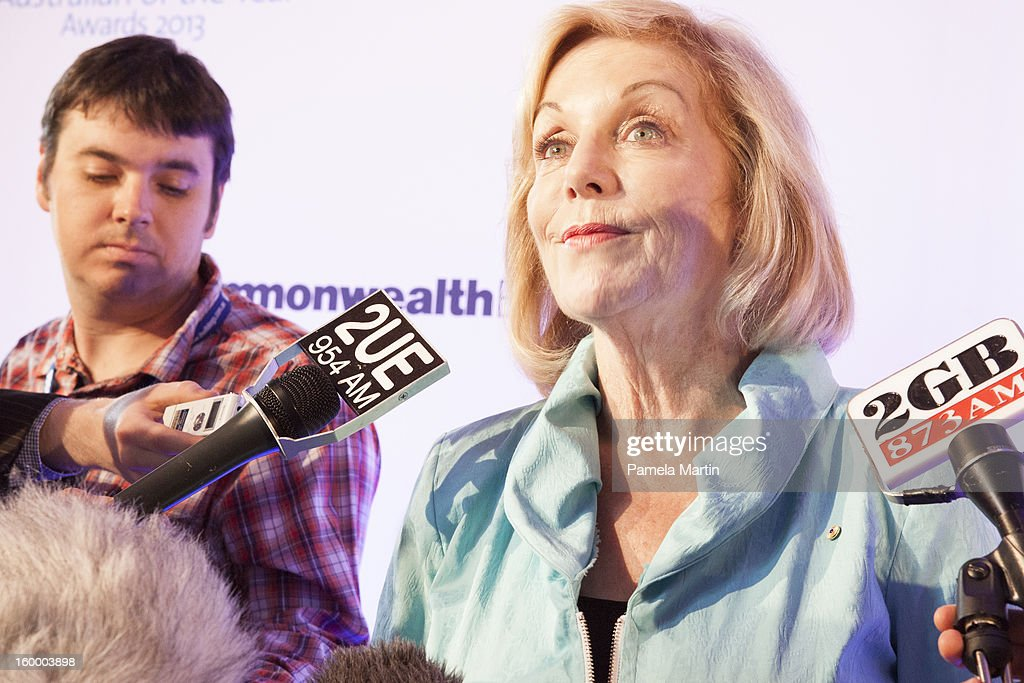 Nominee for Australian of the Year <a gi-track='captionPersonalityLinkClicked' href=/galleries/search?phrase=Ita+Buttrose&family=editorial&specificpeople=220377 ng-click='$event.stopPropagation()'>Ita Buttrose</a> speaks to the press at the 2013 Australian of the Year finalist lunch at the National Gallery of Australia on January 25, 2013 in Canberra, Australia.