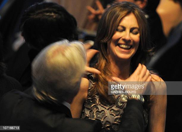Nominee for Best Director James Cameron for 'Avatar' pretends to strangle exwife and fellow nominee for Best Director Kathryn Bigelow for 'The Hurt...