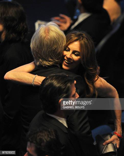 Nominee for Best Director Kathryn Bigelow for 'The Hurt Locker' hugs exhusband and nominee for Best Director James Cameron for 'Avatar' at the 82nd...