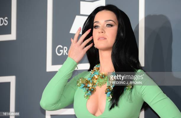 Nominee for Best Pop Solo Performance Katy Perry arrives on the red carpet at the Staples Center for the 55th Grammy Awards in Los Angeles California...