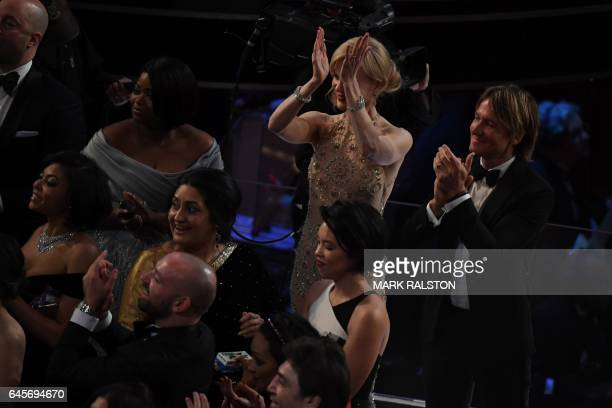 Nominee for Best Supporting Actress in 'Lion' Nicole Kidman her husband Australian singer Keith Urban and nominee for Best Supporting Actress in...