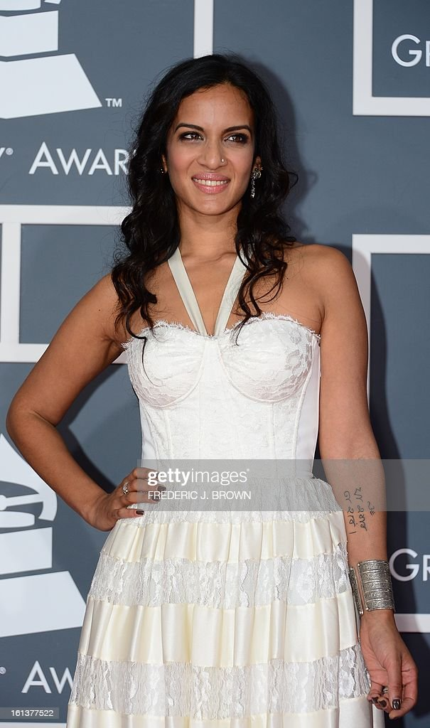 Nominee for Best World Music Album Anoushka Shankar arrives at the Staples Center for the 55th Grammy Awards in Los Angeles, California, February 10, 2013. AFP PHOTO Frederic J. BROWN