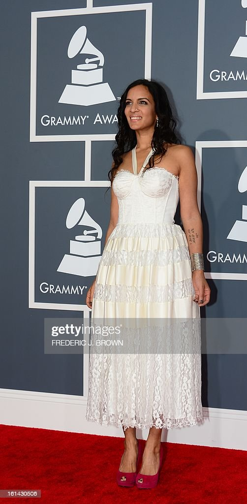 Nominee for Best World Music Album Anoushka Shankar arrives on the red carpet at the Staples Center for the 55th Grammy Awards in Los Angeles, California, February 10, 2013. AFP PHOTO Frederic J. BROWN