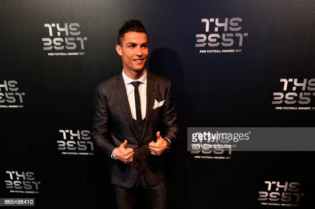 Nominee for the Best FIFA football player Real Madrid and Portugal forward Cristiano Ronaldo arrives for The Best FIFA Football Awards ceremony on...