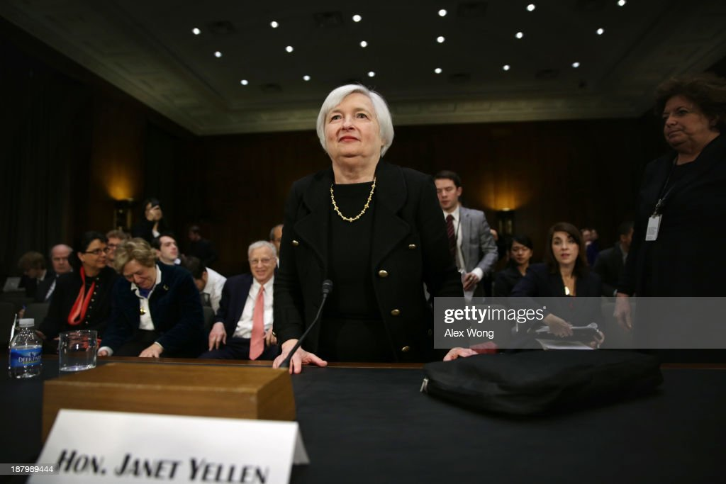 Nominee for the Federal Reserve Board Chairman <a gi-track='captionPersonalityLinkClicked' href=/galleries/search?phrase=Janet+Yellen&family=editorial&specificpeople=2731344 ng-click='$event.stopPropagation()'>Janet Yellen</a> leaves after her confirmation hearing November 14, 2013 on Capitol Hill in Washington, DC. Yellen will be the first woman to head the Federal Reserve if confirmed by the Senate and will succeed Ben Bernanke.