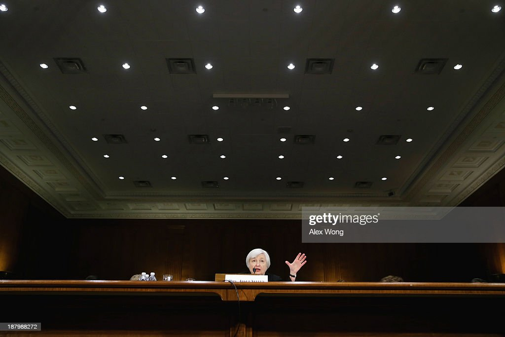 Nominee for the Federal Reserve Board Chairman <a gi-track='captionPersonalityLinkClicked' href=/galleries/search?phrase=Janet+Yellen&family=editorial&specificpeople=2731344 ng-click='$event.stopPropagation()'>Janet Yellen</a> testifies during her confirmation hearing November 14, 2013 on Capitol Hill in Washington, DC. Yellen will be the first woman to head the Federal Reserve if confirmed by the Senate and will succeed Ben Bernanke.