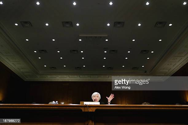 Nominee for the Federal Reserve Board Chairman Janet Yellen testifies during her confirmation hearing November 14 2013 on Capitol Hill in Washington...