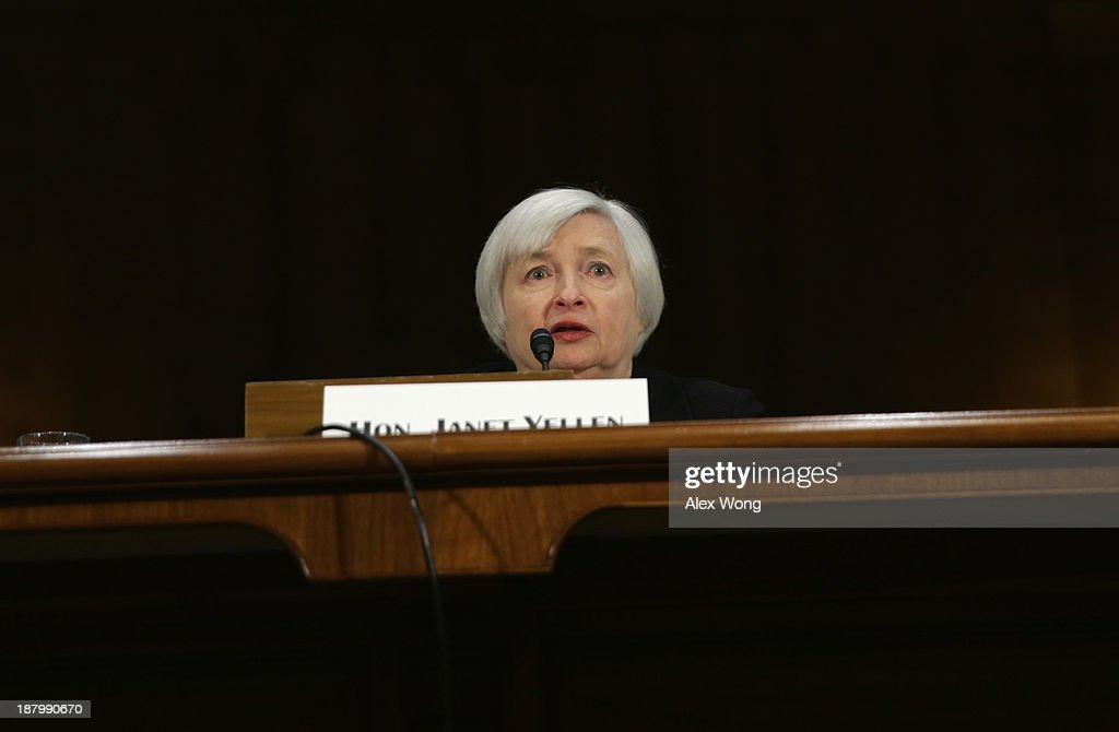 Nominee for the Federal Reserve Board Chairman <a gi-track='captionPersonalityLinkClicked' href=/galleries/search?phrase=Janet+Yellen&family=editorial&specificpeople=2731344 ng-click='$event.stopPropagation()'>Janet Yellen</a> testifies during her confirmation hearing before Senate Banking, Housing and Urban Affairs Committee November 14, 2013 on Capitol Hill in Washington, DC. Yellen will be the first woman to head the Federal Reserve if confirmed by the Senate and will succeed Ben Bernanke.