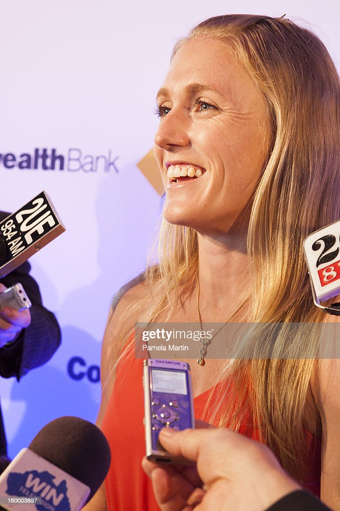 Nominee for Young Australian of the Year <a gi-track='captionPersonalityLinkClicked' href=/galleries/search?phrase=Sally+Pearson+-+Athlete&family=editorial&specificpeople=200724 ng-click='$event.stopPropagation()'>Sally Pearson</a> speaks to the press at the 2013 Australian of the Year finalist lunch at the National Gallery of Australia on January 25, 2013 in Canberra, Australia.