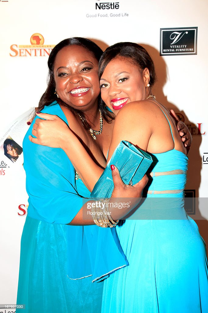 Nominee Michelle Merriweather and Gerreka Gilliam arrive at the 3rd Annual 'To The Nines' After Party hosted by the LA Urban League Young Professionals at The Beverly Hilton Hotel on April 26, 2013 in Beverly Hills, California.