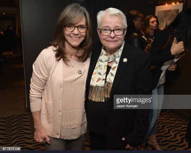 Nominee Sally Field and playwright Paula Vogel attend the 2017 Tony Awards Meet The Nominees Press Junket at the Sofitel New York on May 3 2017 in...