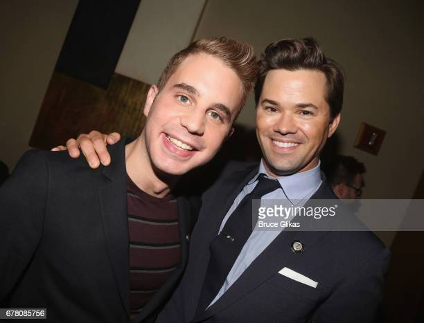 Nominees Ben Platt and Andrew Rannells pose at The 71st Annual Tony Awards Meet the Nominees Press Junket at Sofitel Hotel on May 3 2017 in New York...