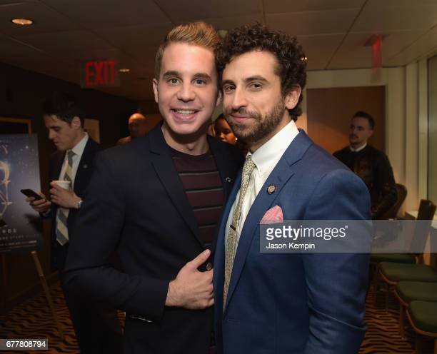 Nominees Ben Platt and Brandon Uranowitz attends the 2017 Tony Awards Meet The Nominees Press Junket at the Sofitel New York on May 3 2017 in New...