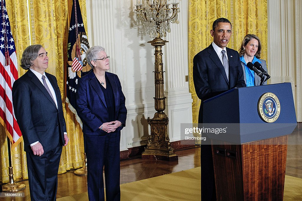 Nominees Ernest Moniz, left, Gina McCarthy, second from left, and Sylvia Mathews Burwell, right, listen as U.S. President <a gi-track='captionPersonalityLinkClicked' href=/galleries/search?phrase=Barack+Obama&family=editorial&specificpeople=203260 ng-click='$event.stopPropagation()'>Barack Obama</a> announces personnel nominations in the East Room of the White House in in Washington, D.C., U.S., on Monday, March 4, 2013. Obama announced three cabinet-level nominations, choosing Burwell of the Wal-Mart Foundation as director of the Office of Management and Budget, scientist Moniz as head of the Energy Department, and McCarthy to lead the Environmental Protection Agency (EPA), where she's been an assistant administrator. Photographer: Pete Marovich/Bloomberg via Getty Images