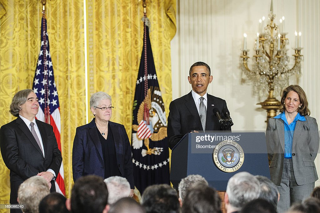 Nominees Ernest Moniz, left, Gina McCarthy, second from left, and Sylvia Mathews Burwell, right, listen as U.S. President Barack Obama announces personnel nominations in the East Room of the White House in in Washington, D.C., U.S., on Monday, March 4, 2013. Obama announced three cabinet-level nominations, choosing Burwell of the Wal-Mart Foundation as director of the Office of Management and Budget, scientist Moniz as head of the Energy Department, and McCarthy to lead the Environmental Protection Agency (EPA), where she's been an assistant administrator. Photographer: Pete Marovich/Bloomberg via Getty Images