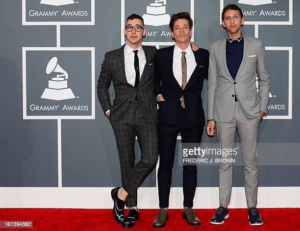 Nominees for Album of the Year Best New Artist Best Pop Duo and and Best Pop Vocal Album Fun arrive on the red carpet at the Staples Center for the...