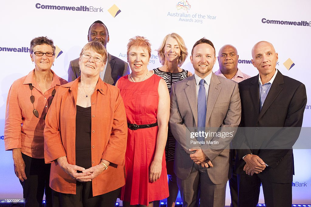 Nominees for Australian Local Hero Gwen Egg, Pam Adams, Francis Owusu, Anna Kemp, Caroline de Mori, Peter Fletcher, Shane Phillips and Sergeant Dimitrios Bellos attend the 2013 Australian of the Year finalist lunch at the National Gallery of Australia on January 25, 2013 in Canberra, Australia.