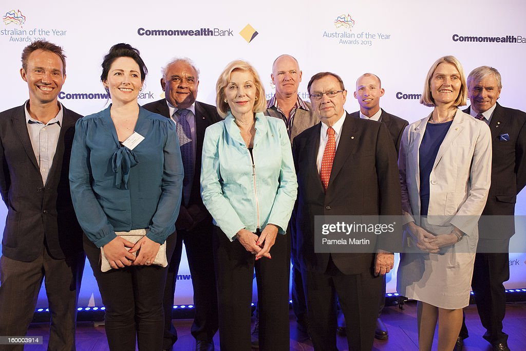 Nominees for Australian of the Year Michael Hohnen, Sonya Ryan, Tom Calma, <a gi-track='captionPersonalityLinkClicked' href=/galleries/search?phrase=Ita+Buttrose&family=editorial&specificpeople=220377 ng-click='$event.stopPropagation()'>Ita Buttrose</a>, Mark Grose, Harold Mitchell, Andrew Hughes, Professor Adele Green and Kerry Stokes attend the 2013 Australian of the Year finalist lunch at the National Gallery of Australia on January 25, 2013 in Canberra, Australia.