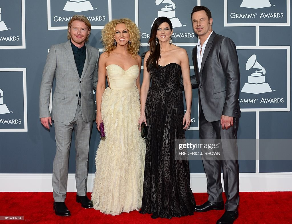 Nominees for Best Country Duo/Group Performance Little Big Town arrive on the red carpet at the Staples Center for the 55th Grammy Awards in Los Angeles, California, February 10, 2013. AFP PHOTO Frederic J. BROWN