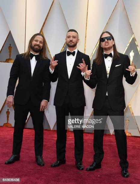 Nominees for Best Music 'Can't Stop The Feeling' from Trolls Justin Timberlake Max Martin and Karl Johan Schuster arrive on the red carpet for the...