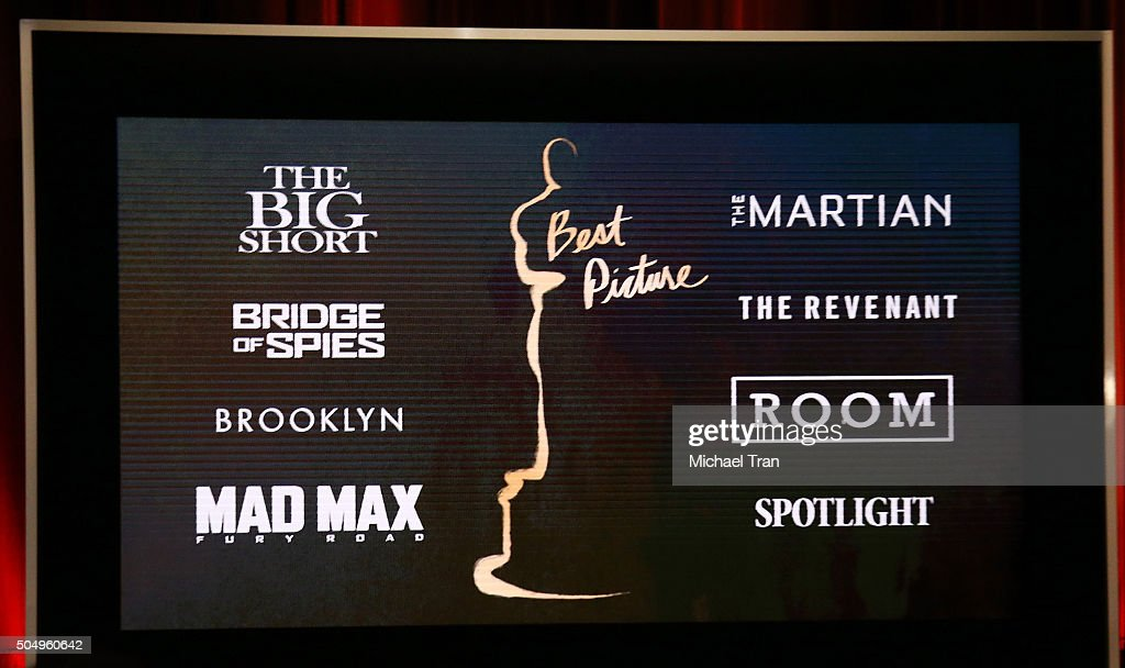 Nominees for Best Picture announced onstage during the 88th Oscars nominations announcement held at Academy Of Motion Picture Arts And Sciences on...