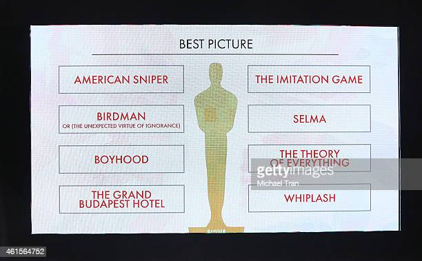Nominees for Best Picture shown onstage during the 87th Oscars nominations announcement held at AMPAS Samuel Goldwyn Theater on January 15 2015 in...