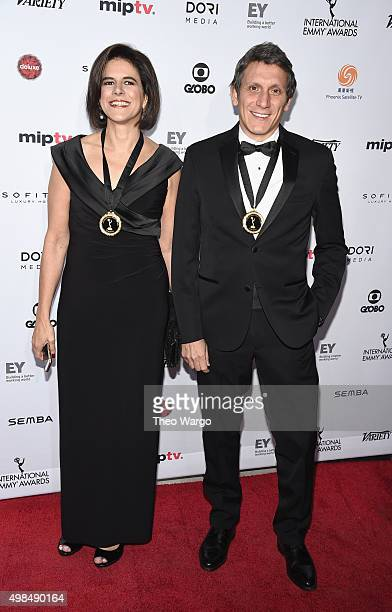 Nominees for NonScripted Entertainment producers Carmen Larios and Gerardo Brandy for Barones de la Cerveza attend 43rd International Emmy Awards at...