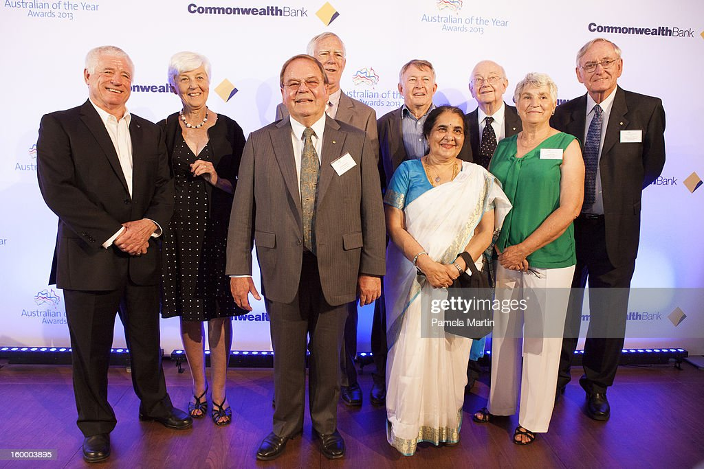 . Nominees for Senior Australian of the Year Ron Allum, Lorraine Young, Dr Jim Peacock, Barry Young, Dr Sadhana Mahajani, Laurie Lawrence, Professor Ian Maddocks, Anna Crolty and Professor John Martin attend the 2013 Australian of the Year finalist lunch at the National Gallery of Australia on January 25, 2013 in Canberra, Australia.