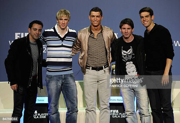 Nominees for the FIFA World player 2008 from left to right Spain's Xavi Spain's Fernando Torres Portugal's Cristiano Ronaldo Argentina's Lionel Messi...