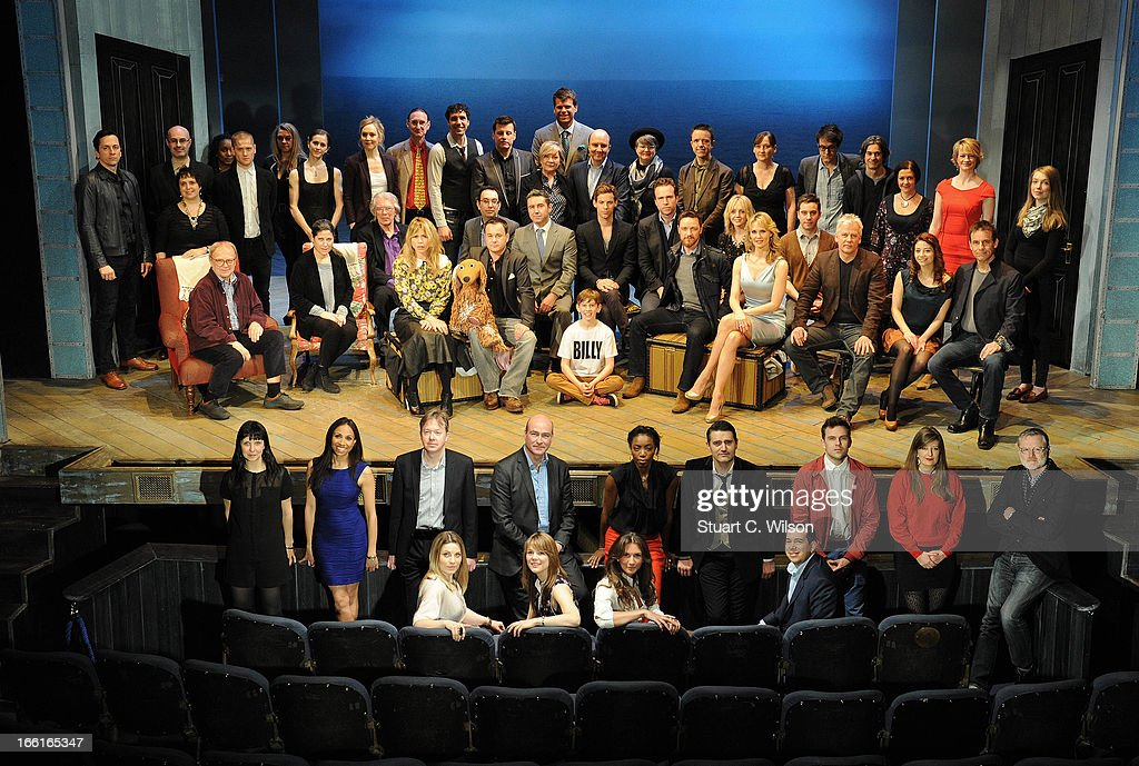 Nominees for the Olivier Awards 2013 with MasterCard pose on stage for a celebratory group photo, back row stage standing (L to R) Jon Morell, Lee Curran, Nica Burns, Kyle Soller, Dawn Reid, Emma Turner, Marianela Nunez, Hattie Morahan, Stephen Boswell, Alex Gaumond, Bill Deamer, Hildegard Bechtler, Gareth Owen, Paul Chahidi, Jenny Tiramani, Adrian Sutton, Miriam Buether, Nick Payne, Toby Mitchell, Olivia Jacobs, Annette McLaughlin and Alexandra Isaacs, front row stage sitting (L to R) David Wood, Kim Poster, John Miller, Billy Piper, Elliot Davis, David Garrud, Scott Graham, Tade Biesinger, Luke Treadaway, Rafe Spall, James McAvoy, Hayley Flaherty, Leigh Zimmerman, James Graham, Deka Walmsley, Sofia Escobar and Marcus Lovett, back row stalls standing (L to R) Caroline Horton, Debbie Kurup, Edward Snape, Matthew Mitchell, Heather Headley, Tom Chambers, Morgan Lloyd, Kate Bond and Anthony Ward, front row stalls sitting (L to R) Louise Dearman, Gina Beck, Summer Strallen and Kenny Wax, at the Theatre Royal, Haymarket on April 9, 2013 in London, England. The ceremony hosted by Sheridan Smith and Hugh Bonneville will take place at the Royal Opera House on Sunday 28 April.