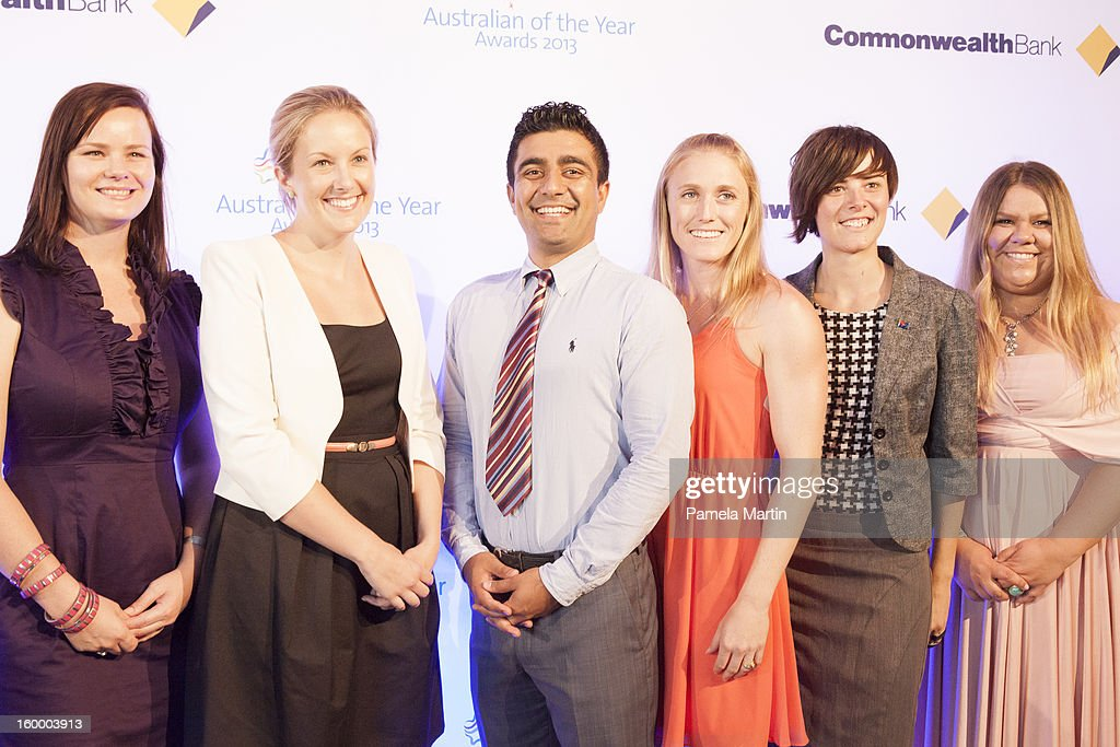 Nominees for Young Australian of the Year Hayley Bolding, Julie Mckay, Akram Azimi, <a gi-track='captionPersonalityLinkClicked' href=/galleries/search?phrase=Sally+Pearson+-+Athlete&family=editorial&specificpeople=200724 ng-click='$event.stopPropagation()'>Sally Pearson</a>, Vanessa Picker and Holly Barnewal attend the 2013 Australian of the Year finalist lunch at the National Gallery of Australia on January 25, 2013 in Canberra, Australia.