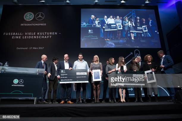 Nominees from Social Minds e v and 'On the move' pose during Integration Prize Awarding Ceremony at Deutsches Fussballmuseum on March 17 2017 in...