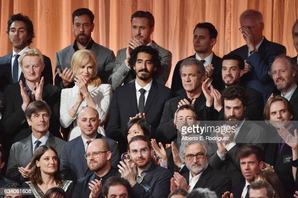 Nominees including actor Ryan Gosling and actress Nicole Kidman actor Dev Patel and actor/filmmaker Mel Gibson attend the 89th Annual Academy Awards...