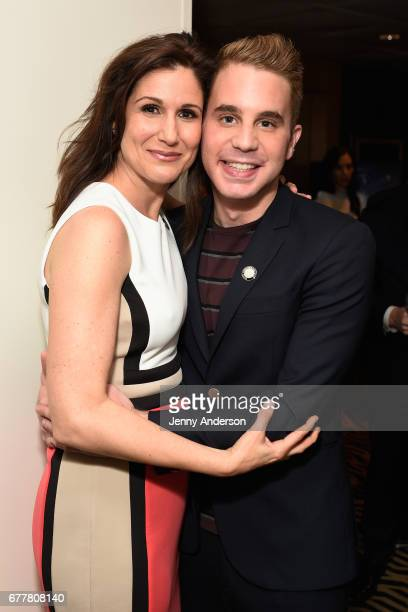 Nominees Stephanie J Block and Ben Platt attend the 2017 Tony Awards Meet The Nominees Press Junket at the Sofitel New York on May 3 2017 in New York...